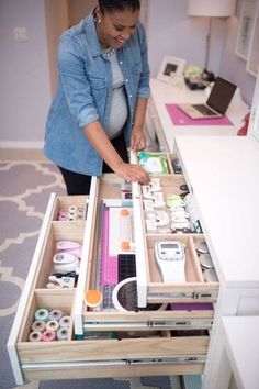 Deep divided drawers provide loads of useful storage in a craft room. Yup, just found the next thing to plan into my dream craft studio! Sewing Room Organization, Craft Room Storage, Organization Ideas, Craft Rooms, Storage Ideas, Organizing, Ikea Storage, Storage Shelves, Storage Solutions