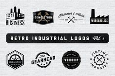 Check out Retro Industrial Logos - Volume 1 by Adrian Pelletier on Creative Market