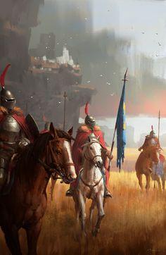 cavalry by ruxing gao Massive Black Volume 1 Fantasy Warrior, Fantasy Battle, Fantasy City, Fantasy Artwork, Fantasy Paintings, Medieval Art, Medieval Fantasy, Renaissance Art, Armor Concept