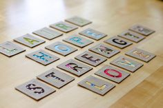 DIY alphabet cards from recycled cereal boxes + scrap fabric.