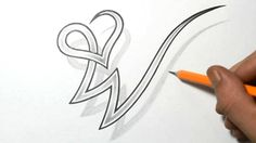 Drawing Letter W Combined with a Heart Design