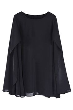 Cape Style Loose Black Dress