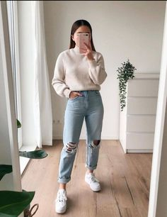 Winter Fashion Outfits, Cute Fashion, Look Fashion, Fall Outfits, Basic Outfits, Cute Casual Outfits, Simple Outfits, Street Looks, Mom Jeans Outfit