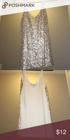 Sequin Tank Top White tank top with gold sequins. Size L. 100% rayon, super soft and stretchy! Only worn once or twice! Coolwear Tops Tank Tops