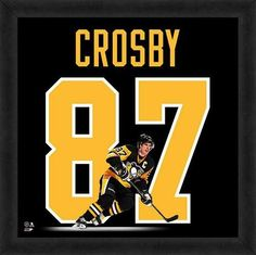 Featured is a Sydney Crosby framed Pittsburgh Penguins jersey photo. This photo has been professionally framed and is approximately 20x20. **Note: This photo is not signed.**