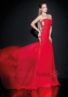 Luxurious Mermaid Red Floor-Length Evening Dress New Red Color Custom Made