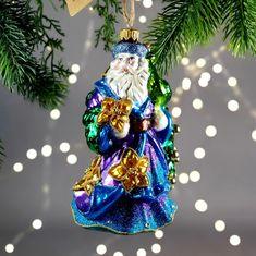 Magic Christmas Ornaments Santa Claus with Peacock and | Etsy Poinsettia Flower, Glass Christmas Tree Ornaments, Hang Tags, Green And Purple, Peacock, Santa, Magic, Hand Painted, Holiday Decor