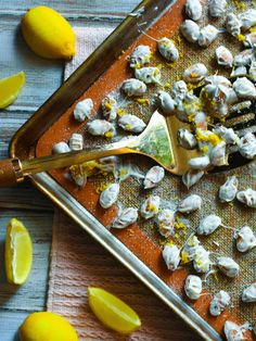 Lemon White Chocolate Covered Almonds Chocolate Covered Almonds, White Chocolate Chips, Chef Recipes, Grilling Recipes, Naan Pizza, Lemon Extract, Lemon Sugar, In Season Produce, Sweet And Salty