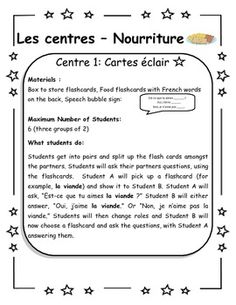 Centers for Food - great ideas for teaching food vocab in French!