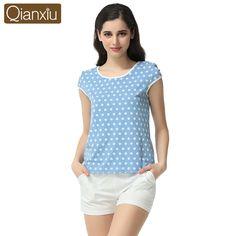 2016 Pijamas Mujer 잠옷 여성 Qianxiu 폴카 도트 잠옷 정장 소녀 여름 캐주얼 파자마 세트 95% 면 Homedress 세트-에서   부터 파자마 세트 의 Aliexpress.com   Alibaba 그룹
