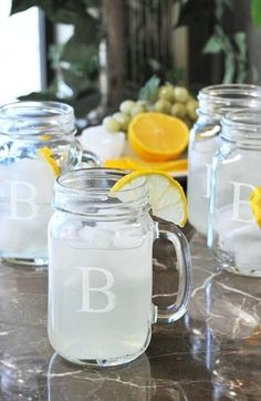 Monogrammed Mason Jars - I want a set of these!
