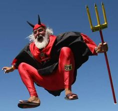 "The Tour de France's most notorious fan, ""The Devil."" People go in all styles of getup, but there can only be one of these guys."