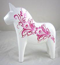 "NEW! Grannas A. Olsson 5"" (13cm) Kurbitz White & Pink Dala Horse Swedish"