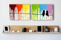 Rainbow Love Birds Art On Canvas - Large Original Acrylic Abstract Birds On A Wire Silhouette Painting Livingroom Wall Art Decor. $50.00, via Etsy.
