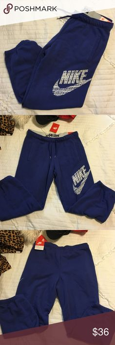 Nike Sweats NWT. Never worn. Sold out in stores & online. Unique color & cute Nike symbol. Originally $55.00 + tax. Size M. Less on merc. Nike Pants Track Pants & Joggers
