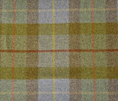 Larch Check Wool Fabric  A beautiful tartan design in blue, green, orange, yellow and brown, suitable for curtains and upholstery.
