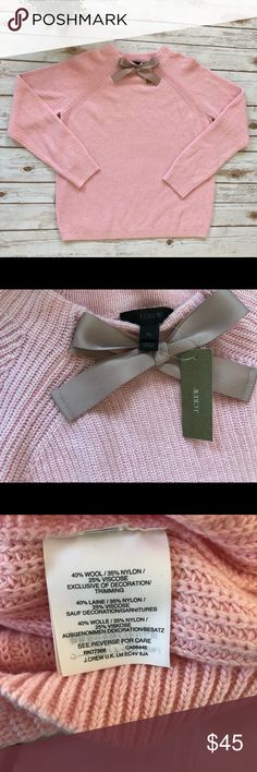 NWT Pink JCREW Sweater with bow NWT JCREW wool blend super soft sweater with bow. J. Crew Sweaters