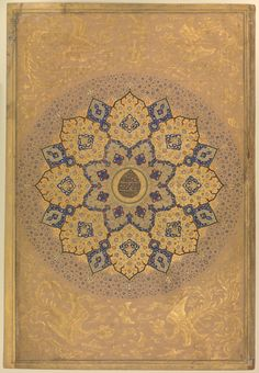 Rosette Bearing the Name and Title of Emperor Aurangzeb (Recto), from the Shah Jahan Album Calligrapher: Mir 'Ali Haravi (d. ca. 1550) Object Name: Non-illustrated album leaf Date: recto: ca. 1658; verso: ca. 1630–40 Geography: India