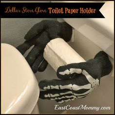 Halloween Toilet Paper Holder... what kid wouldn't think this was hilarious?