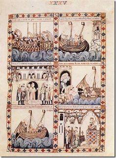 unknown painters - Cantigas de Alfonso el Sabio - - Cantigas de Santa Maria - Wikipedia, the free encyclopedia Medieval Manuscript, Medieval Art, Illuminated Letters, Illuminated Manuscript, Renaissance, Illustrations Vintage, Web Gallery Of Art, Romanesque, Gothic Art