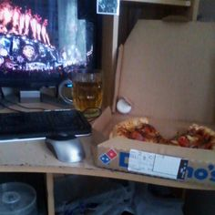 Domino's BBQ Chicken Pizza with Strongbow Apple Cider @ my Dad's desk in the living room