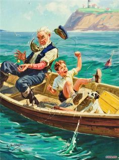 Artist: Henry Hintermeister Born New York (father from Switzerland) American illustrator Henry Hintermeister and h. Art And Illustration, Vintage Posters, Vintage Art, Gone Fishing, Am Meer, Norman Rockwell, Fish Art, Beautiful Paintings, Belle Photo