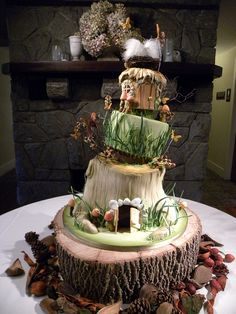 Cake shaped like a whimsical elf hotel... slugs allowed with deposit.