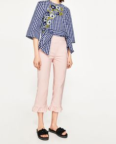 CROPPED TROUSERS WITH FRILL-View All-TROUSERS-WOMAN | ZARA United States
