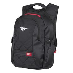 """Mustang Backpack. Item #300678 Modern backpack includes a padded laptop sleeve (up to 16""""), smartphone pocket, dedicated power brick bay, and zippered sunglasses/phone pocket with scratch-resistant lining. Strap management system keeps unused shoulder strap length out of the way. Other compartments holds pens, valuables, water bottles, and more (not included). Padded back support and top grab handle. Measures 9.5"""" x 14"""" x 17.75"""".  Screenprinted Mustang Pony center front.  $79.95 Inv."""