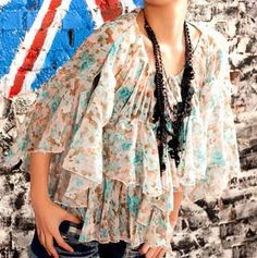 Floral Flounced Three Quarter Sleeved Chiffon Shirt