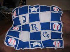 Baby baseball blanket w/initials