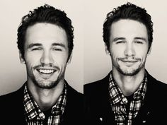 Franco looks quite handsome here: scruff, flannel, and a smile- UMMM YESSS!!