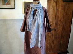 Antique French cotton voile scarf pale and mid by AtelierHope