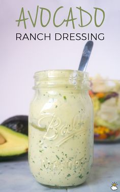 This Is The Healthy Low-Fat Ranch Dressing You've Been Looking For! - - This Is The Healthy Low-Fat Ranch Dressing You've Been Looking For! Avocado Ranch Dip Recipe, Avocado Recipes, Healthy Recipes, Healthy Lunches, Healthy Ranch Recipe, Avocado Ideas, Healthy Salads, Avocado Ranch Dressing, Greek Yogurt Salad Dressing