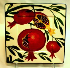 Pomegranate square plate, old pattern painted by artist Geoff Graham of CInnabar Ceramics in Vallejo, California.
