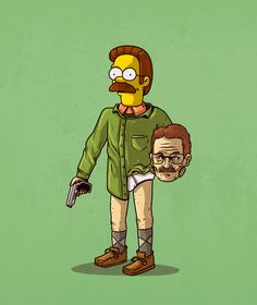 Ned Flanders as Walter White - The Simpsons + Breaking Bad - Alex Solis Cartoon Cartoon, Cartoon Kunst, Cartoon Styles, Cartoon Characters, Iconic Characters, Fictional Characters, Ned Flanders, Breaking Bad, Cultura Pop