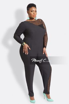 Adriana Lace Plus Size Jumpsuit - Black Plus Size Jumpsuit, Full Figured, Winter Dresses, Curvy Fashion, Well Dressed, Wetsuit, Lace, Swimwear, Texture