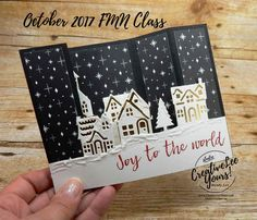 Hometown Bridge Fold by wendy lee, stampin up, creatively you. - Emma Lee home Stamped Christmas Cards, Xmas Cards, Handmade Christmas, Holiday Cards, Prim Christmas, Card Making Inspiration, Making Ideas, Bridge Card, Fancy Fold Cards