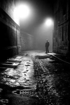 Man in the Fog, Oxford, England, the Overall Youth winner in the Take a View Landscape Photographer of the Year award, so atmospheric An atmospheric black and white picture of Lindisfarne Castle was named overall winner Dark Photography, Night Photography, Digital Photography, Black And White Photography, Film Noir Photography, Portrait Photography, Fashion Photography, Photography Of People, Mysterious Photography