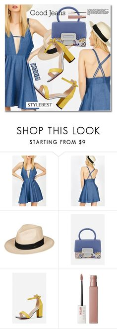 """Good Jeans by STYLEBEST"" by svijetlana ❤ liked on Polyvore featuring Roxy, Maybelline, DenimDress and Stylebest"