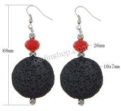 Lava Tropfen Ohrring, mit Kristall & Verkupferter Kunststoff, Messing Haken, Platinfarbe platiniert, schwarz, 68mm, 26mm, 10x7mm