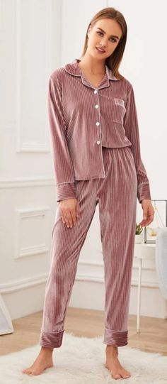Women's Casual Velvet Long-Sleeved Pajama With Buttons | ZORKET | Material: Polyester, Spandex • Length: Full Length • Style: Casual • Collar: Turn-Down Collar • Type: Solid, Pajamas • Material: Polyester • Obscene Picture: No
