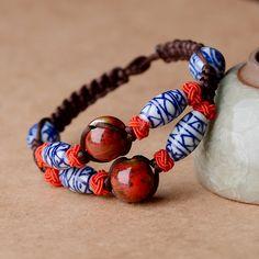 Original design Ethnic bangle bracelet classical ceramic ball blue and white porcelain wrap chain Handmade jewelry