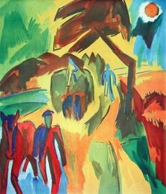 Karl Schmidt-Rottluff (1884-1976) ) was a German expressionist painter & printmaker, and 1 of founders of Die Brücke. From 1905 to 1911, his influences included Art Nouveau, Neo-Impressionism &I the paintings of van Gogh and Matisse. By 1908–9 their use of flat areas of pure brilliant colours rivalled that of the Fauves. Schmidt-Rottluff's characteristic works were already distinguished by their especially calm balance of composition and monumental simplification of form.