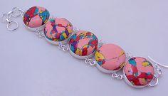free shipping F-288 Stunning Mosaic Jasper .925 Silver Handmade Jewelry Bracelet 52 Gr. by SILVERHUT on Etsy