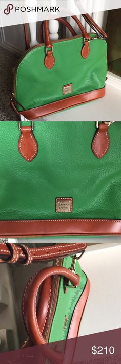 Green Like New Dooney & Bourke Zip Zip Satchel Beautiful green color for spring summer zip zip satchel. Perfect condition, no stains barely used. Removable strap. Zippered compartment three pockets key fob. Double zipper closure.  Measurements: 13 inches wide, 10 inches high without handles, Handle drop is 4.5 inches. Included shoulder strap with no marks. 5 inches deep. Dooney & Bourke Bags Satchels