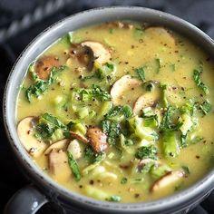 Raw Coconut Bok Choy Spicy Soup Recipe Soups with bok choy, braggs liquid aminos, sesame oil, sliced mushrooms, coconut sugar, coconut, water, cumin, tumeric, ginger, garlic chili sauce, Himalayan salt, pepper