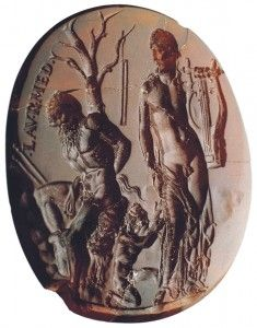 'Apollos, Maryas and Olympus', Carnelian Intaglio (more commonly known as the 'Seal of Nero') - Made in Rome by a gem cutter called Dioskourides at some point during Augustus' reign (27BC – 14AD). Image copyright Naples National Archaeological Museum.