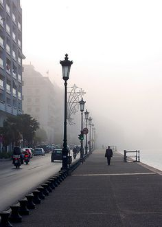 The misty edge of the Aegean Port of Thessaloniki Macedonia Greece