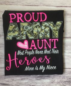 Got a niece in the Army? Then this Proud Army Aunt shirt is a must have for you! ***Normal Production times are business days*** However during certain holidays it may take up to 7 business days. Military Homecoming, Military Mom, Aunt T Shirts, Army Shirts, Army Family, Family Day, Spirit Shirts, Crew Neck Shirt, Boot Camp